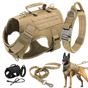 Military Tactical Dog Collar & Harness with Leash Set Front Clip K9 Molle Vest
