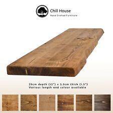 Rustic Live Edge Floating Shelf Wood Solid Chunky Dark Oak Handmade 12x1.5
