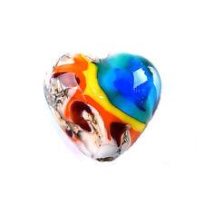 GL Premium Lampwork Artist Heart Bead Yellowstone 18x12mm *UK EBAY SHOP*