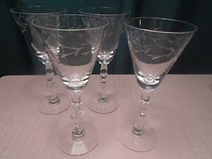 "Tiffin-Franciscan Baroque Wine Claret Gray Cut (4) 1950-66 6 1/2"" (2 have damage"