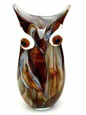 Giant! 32cm Murano Art Glass Multi Coloured Owl Face Vase Marble Effect