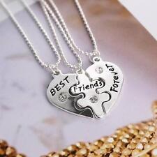 3pcs Elegnat Necklace Best Friends Forever Heart Friendship Pendant Collar Chain