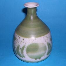 Aviemore Studio Pottery - Attractive Green Abstract Bottleneck Vase - M.Mark.
