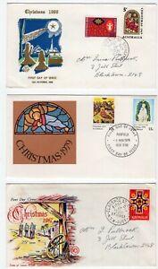 Australia 3 x Christmas FDC 1967, 1969, 1979.