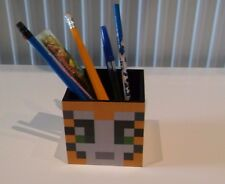 Minecraft inspired stampy wooden  pencil /pen pot  desk tidy great stocking fill