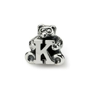 Letter K Teddy Bear Kids Bead .925 Sterling Silver Antiqued Reflection Beads