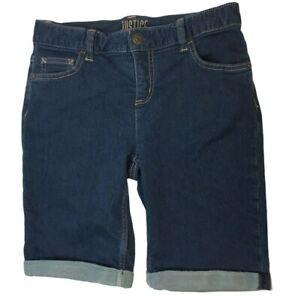 Justice Girl's Size 16 Dark Wash Stretch 5 Pocket Cuffed Bermuda Shorts