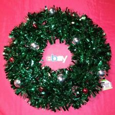 "18"" GREEN RED SILVER SPARKLY SHINY TINSEL Christmas Ornament BULB HOLIDAY Wreath"