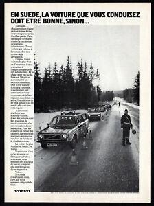 1972 VOLVO Vintage Original Print AD - French Canada Sweden road and cop