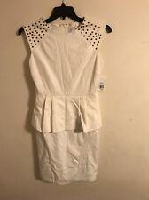 Jessica Simpson White Peplum Dress Sleeveless Gold Studs Size 4