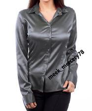 Party Wear Satin long Sleeve Shirt Gray* Women Wear Collar Buttondown shirt S81