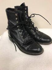 Justin  Roper Kiltie Boots Black Leather L506 Lace Up Women 6 1/2B / 6.5B