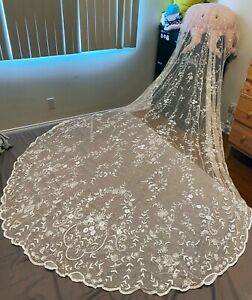 Antique Brussels Princess Lace Wedding Veil Floral Bridal Cathedral Length
