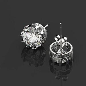 925 Sterling Silver Stud Earrings Round Created Moissanite Gemstone Ear Wedding