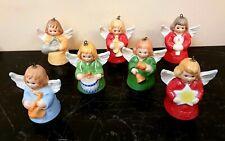 Lot Of 7 Goebel Hummel Porcelain Angel Bells Figurines Christmas Ornaments,