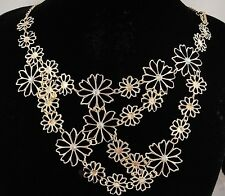 necklace 18k gold p metal flower floral daisy mum AB crystal vintage style FIOJ