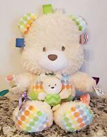 "Taggies Teddy Bear Mom w/ Baby Plush Rattle Cream Lovey Stuffed Toy Dots 14"""