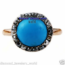 Estate Vintage 0.88cts Rose Cut Diamond Turquoise Studded Jewelry Silver Ring