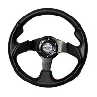 320mm 6-Bolt Racing Steering Wheel Black PVC Leather Red Stitch w/ Mobil White