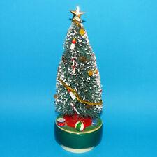 Vintage Bottle Brush Christmas Tree Rotating Music Box Plays O Christmas Tree