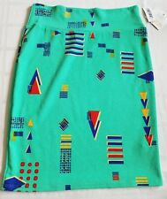 New Lularoe Cassie skirt Large Blue Green Red Yellow Geometric Shapes