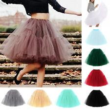 Women Girls 6 layer 58cm Midi Tulle Skirt Adults Tutu Petticoat Ball Gown Dress