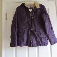 Lands End dark purple fleece lined winter coat girls  10 12 medium pockets