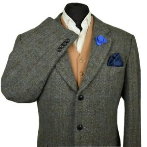 Harris Tweed Tailored Country Grey Checked Blazer Jacket 48R #855 STUNNING