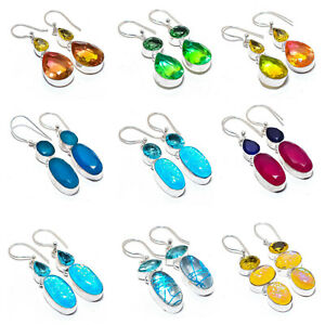 "Rutile Quartz, Blue Topaz 925 Sterling Silver Jewelry Earring 1.9""  GP-2541-2550"