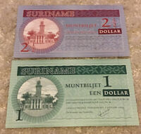 Lot Of 2 Suriname Banknotes. 1 & 2 1/2 Dollar. Dated 2004. Uncirculated Notes.