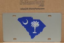 South Carolina blue palmetto & moon stainless steel vanity license plate tag