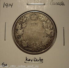 Canada George V 1914 KeyDate Silver Fifty Cents - G+