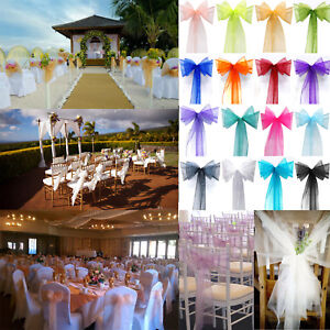 10/20/50/100 Organza Chair Cover Sash Bow Wedding Party Reception Banquet Decors