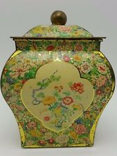 Ginger Jar tea tin Litho Asian Oriental Floral Flowers butterfly Holland Chippy