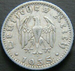 GERMAN 1935 - F 50 REICHSPFENNIG THIRD REICH ALUMINUM NAZI GERMANY COIN RL2162
