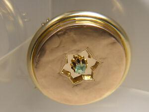 antik Biedermeier Brosche 585 Gold rosè + Rotgold Baguette Smaragd ∅ 36 mm 7,0g