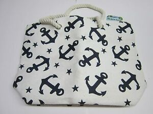 Straw Beach Tote by Zees, Anchors, White & Navy Blue, 19x14x6, Lined - New