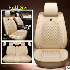 Beige PU Leather 5D Surrounded Car Front & Rear Full Set Seat Cover Cushions