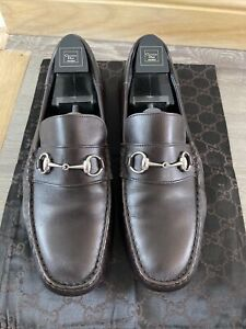 Gucci Men's Brown Leather Loafers Driving Shoes With Silver Horsebit Size 11G