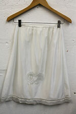 Vintage 1960s Cream A-Line Petticoat Lingerie Butterfly Lace 12 Mod Boudoir