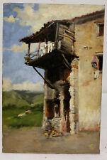 Antique Oil Painting on Board Alpine Scene Fine Monogram Serafini? Italian