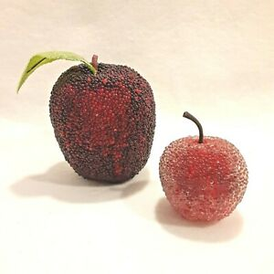 Set Of 2 Beaded Apple Fruit Decoration Faux Fruit 2 inch & 3.5 inch Red Sugared