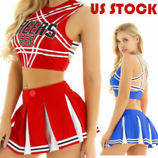 US Adults School Girl Cheer Leader Outfits Uniform Crop Top Pleated Skirt Club
