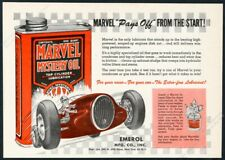 1953 Marvel Mystery Oil racing race car art vintage print ad