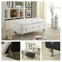 Leather Storage Bench Trunk Chest Upholstered Modern Footrest Ideal for Bedroom