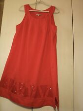 SALE yarra trail orange linen shift dress NWOT  border detail
