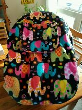 Carrier Car Seat Cover Cozy Infant Elephants n Pink Fleece Lining Free Baby Name