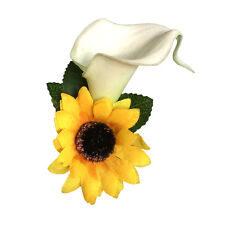 Boutonniere-Real touch calla lily yellow silk sunflower