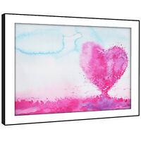 SC862 Pink White Blue Heart Retro Landscape Framed Wall Art Large Picture Prints