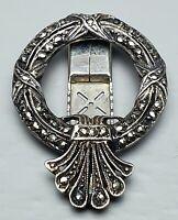 Jugendstil Clip-Brosche 935 Silber DRGM Jugendstil um 1910 Markasit Besatz /A819